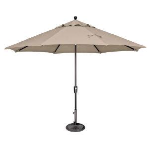 Catalina Beige and Black 132-Inch Push Button Market Umbrella