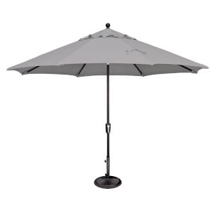 Catalina Gray Tweed and Black 132-Inch Push Button Market Umbrella