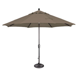Catalina Taupe and Black 132-Inch Push Button Market Umbrella