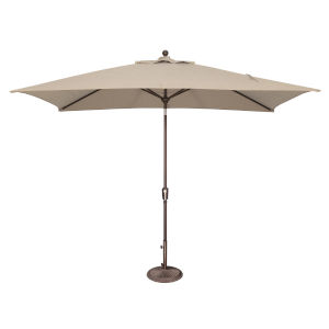 Catalina Beige Rectangle Push Button Tilt Market Umbrella