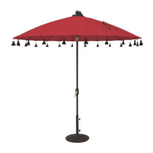 Isabela Jockey Red 8.5-Feet Round Auto Tilt Umbrella