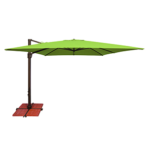 Bali 10 Foot Sunbrella Gingko Green Square Umbrella with Cross Base Stand