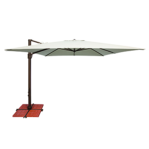 Bali 10 Foot Sunbrella Natural Square Umbrella and Cross Base Stand