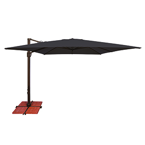 Bali 10 Foot Sunbrella Black Square Umbrella and Cross Base Stand