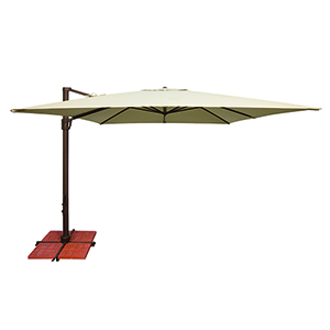 Bali 10 Foot Sunbrella Antique Beige Square Umbrella and Cross Base Stand
