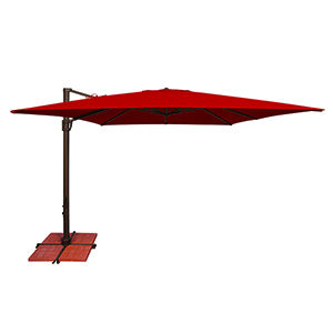Bali 10 Foot Sunbrella Jockey Red Square Umbrella and Cross Base Stand