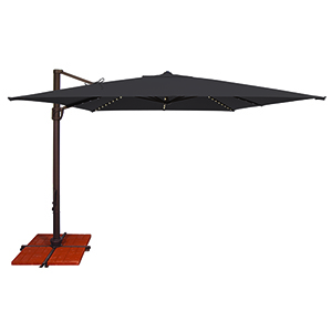 Bali Pro 10 Foot Sunbrella Black Square Umbrella with Starlight Feature and Cross Base Stand