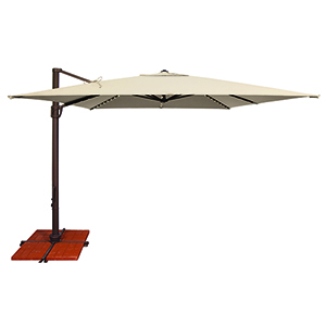 Bali Pro 10 Foot Sunbrella Antique Beige Square Umbrella with Starlight Feature and Cross Base Stand