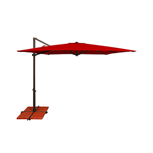 Skye Sunbrella 8 Feet and 6 Inch Jockey Red Square Umbrella and Cross Base Stand