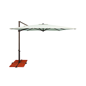 Skye Sunbrella 8 Feet and 6 Inch Natural Square Umbrella and Cross Base Stand