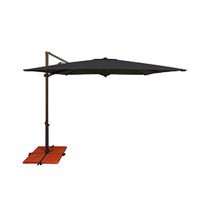 Skye Sunbrella 8 Feet and 6 Inch Black Square Umbrella and Cross Base Stand