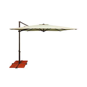 Skye Sunbrella 8 Feet and 6 Inch Anqitue Beige Square Umbrella and Cross Base Stand