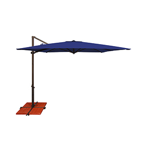 Skye Sunbrella 8 Feet and 6 Inch Navy Square Umbrella and Cross Base Stand
