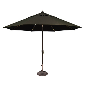 Lanai Pro 11 Foot Sumbrella Black Octagon Auto Tilt with Starlight Feature