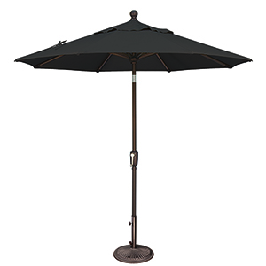 Catalina 7.5 Foot Sunbrella Black Octagon Push Button Tilt