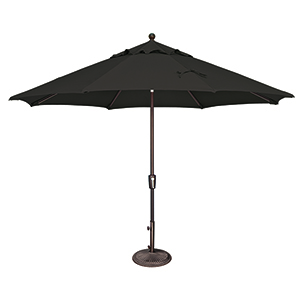 Catalina 11 Foot Sunbrella Black Octagon Push Button Tilt