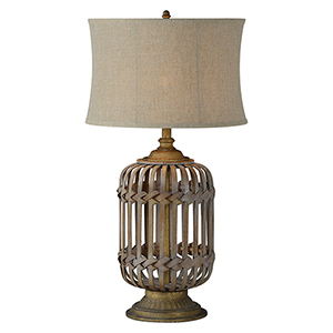 Lakeland Natural Rattan and Gray Washed Gold Accents Table Lamp