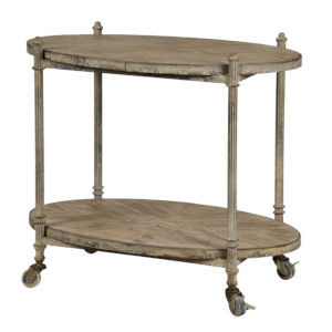 Antique Taupe and White Wash 30-Inch Bar Cart