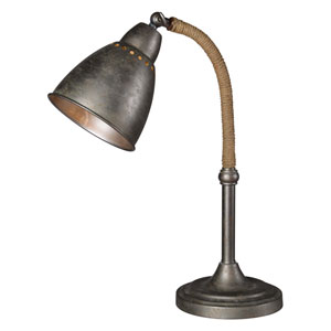 Gage Aged Metal and Jute One-Light Desk Lamp