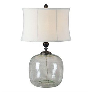 Luna Coke Bottle Green and Raw Metal 27-Inch One-Light Table Lamp