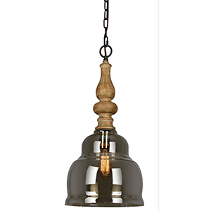 Banks Mercury Glass and Natural Wood 24-Inch One-Light Pendant