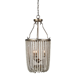 Ellen Champagne and Grey Washed Beads 34-Inch Three-Light Chandelier
