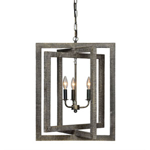 Gloster Weathered Gray Three-Light Chandelier