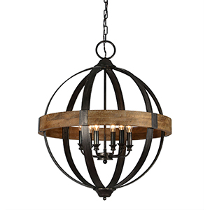 Bristol Weathered Pewter and Driftwood Chandelier