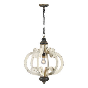 Cottage White and Antique Black 20-Inch One-Light Chandelier