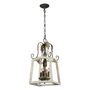 Cottage White and Gold 12-Inch Four-Light Pendant