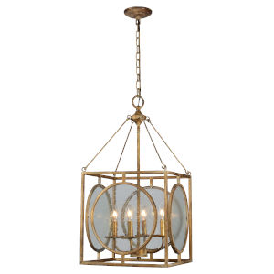 Antique Gold 15-Inch Four-Light Chandelier