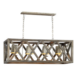 Gray Wash and Silver 41-Inch Four-Light Chandelier