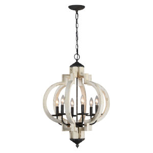 Cottage White and Black 28-Inch Six-Light Pendant