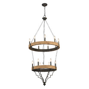 Antique Black and Gray Wash 26-Inch 15-Light Chandelier
