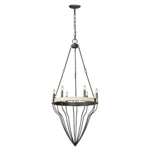 Antique White and Pewter 22-Inch Six-Light Chandelier