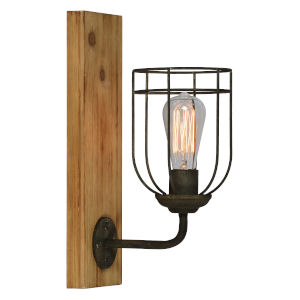 Billy Washed Wood and Black One-Light Wall Sconce