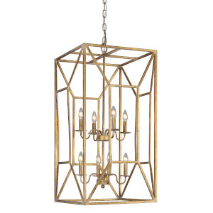 Everest Goldleaf Distressed Eight-Light Chandelier
