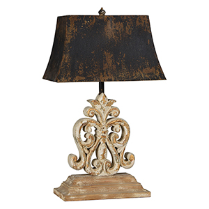 Ivy Distressed White-Wash with Gold Highlights 28-Inch One-Light Table Lamp