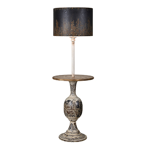 Jenson Rustic Black and Cream Floor Lamp