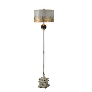 Cream, Black and Gold 65-Inch One-Light Floor Lamp
