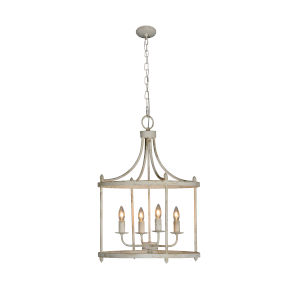 Arliagton Cottage White 19-Inch Four-Light Chandelier