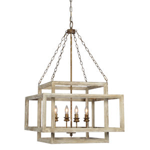 Patterson White Distressed Four-Light Chandelier
