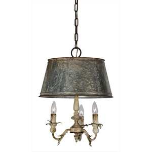 Pemberton Cottage White and Galvanized Three-Light Pendant