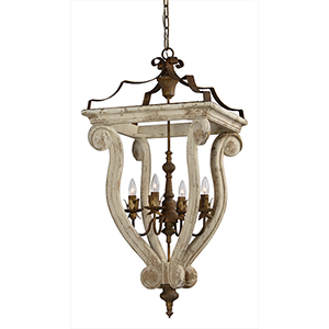 Abbey Cottage White 37-Inch Four-Light Chandelier