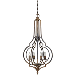 Nora Rustic Black 38-Inch Four-Light Chandelier