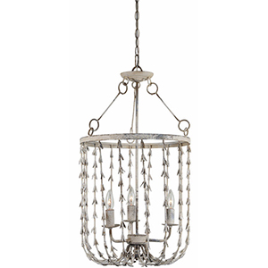 Perry Cottage White 29-Inch Three-Light Chandelier