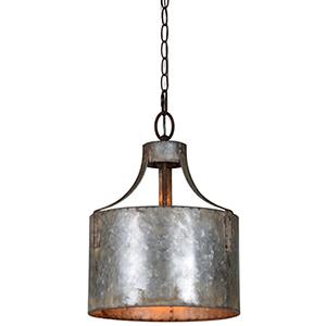Nala Galvanized 16-Inch One-Light Pendant