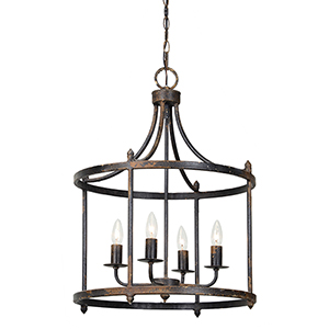 Arlington Rustic Black 28-Inch Four-Light Chandelier