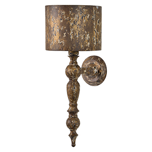 Wells Weathered with Gold Accents 24-Inch One-Light Sconce