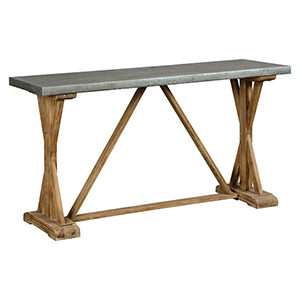 William Weathered Zink and Brown Wash Console